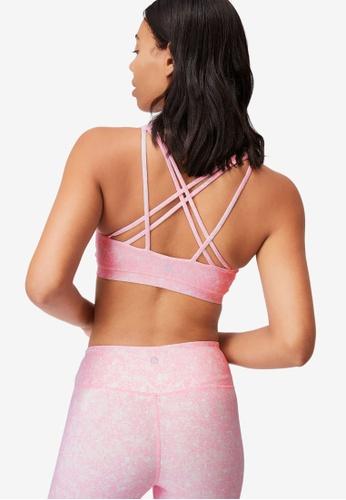 Cotton On Body pink Strappy Sports Crop Bra EBD51US9824E7DGS_1