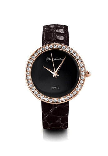 Her Jewellery black Her Jewellery Leather Watch (Black) with Premium Grade Crystals from Austria FCE86ACB0AE740GS_1