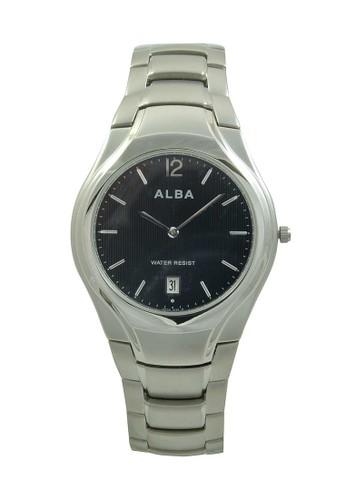 Alba silver ALBA Jam Tangan Pria - Silver Black - Stainless Steel - AVKA51 AL383AC50XRHID_1