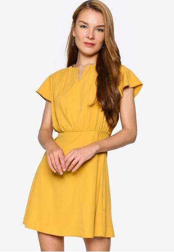 ZALORA WORK yellow V Neck Flare Sleeves Dress 66A57AAD18CD4DGS_1
