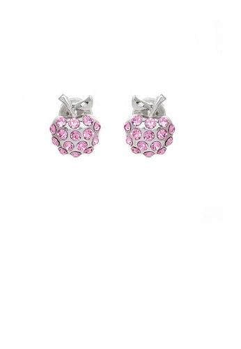 Glamorousky pink Glistening Apple Earrings with Pink Austrian Element Crystals EA25BACA677A35GS_1