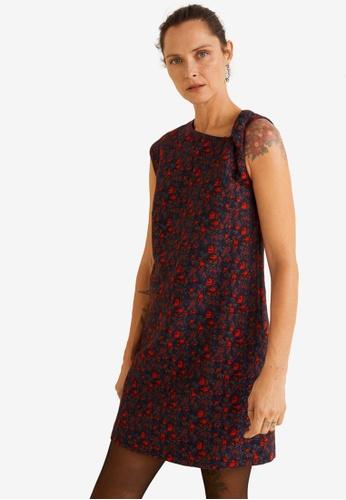 Mango red Textured Floral-Pattern Dress A85CBAA179EBA0GS_1