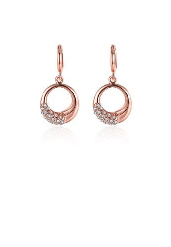 Glamorousky white Elegant Plated Rose Gold Geometric Round Earrings with Austrian Element Crystal E3E8EACBE62654GS_1