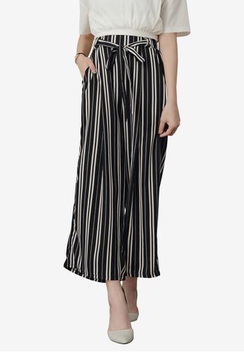 Kodz black Striped Self Tie Culottes 78D3FAAE0CF89EGS_1
