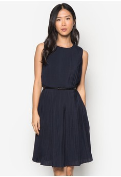 Collection Pleated Midi Dress With Belt