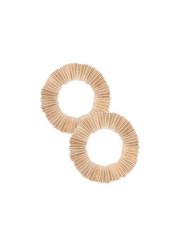 Mango 金色 壓紋圓圈耳環 71396AC784DDB4GS_1