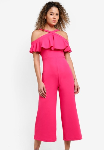 WAREHOUSE pink Halter Neck Crepe Jumpsuit WA653AA45YFEMY_1