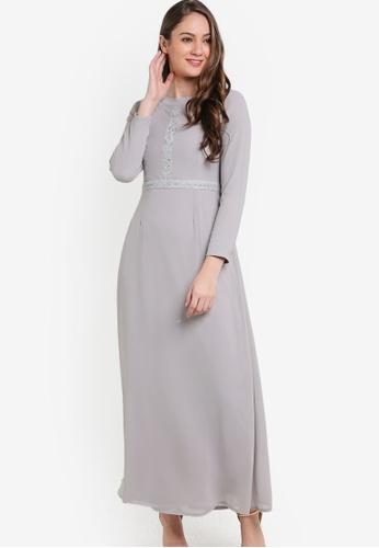 VERCATO grey Orla Chiffon Dress VE999AA05BLMMY_1