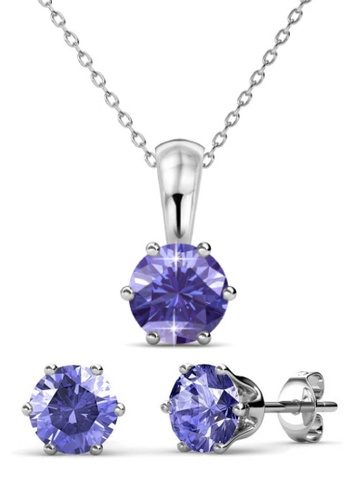 Her Jewellery purple Birth Stone Set (February) - Made with premium grade crystals from Austria C76BAAC59FA1A6GS_1