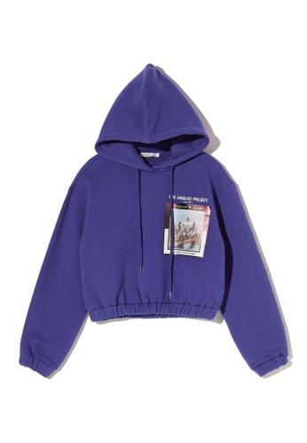 LOS ANGELES PROJECT -FASHION purple Graphic print crop hoodie. 78658AADD1177BGS_1