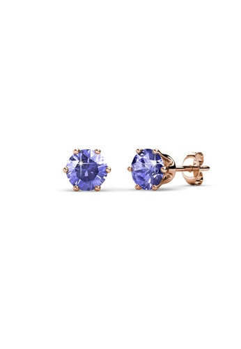 Her Jewellery purple and gold Birth Stone Earrings (February, Rose Gold) - Made with premium grade crystals from Austria 1671BAC2BF54C1GS_1