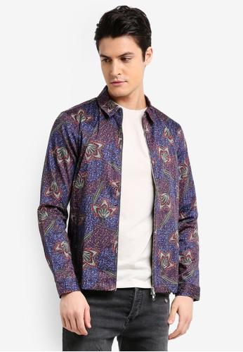 Topman blue Purple And Blue Floral Zip Through Overshirt C0463AAEA0C6D2GS_1
