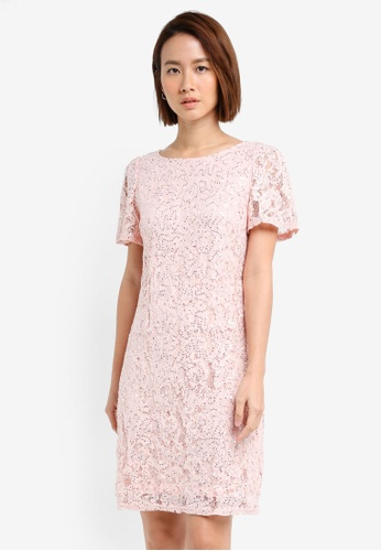 Dorothy Perkins pink Blush Sequin Lace Shift Dress 6F156AA3F00CB6GS_1