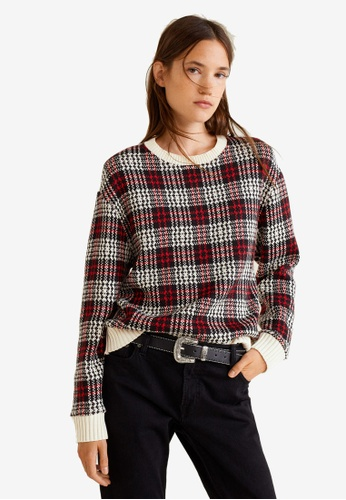 Mango red and multi Checks Knitted Sweater 15D34AA1A4E038GS_1
