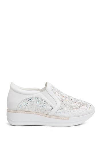 PAZZION white Embroided Platform Sneakers 5338FSH33CBB45GS_1