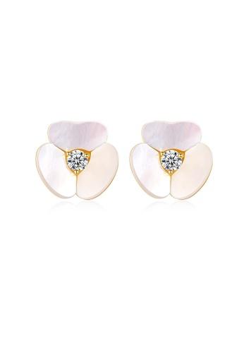 SUNRAIS High quality Silver S925 rose gold floral earrings A9EFDAC0D021D7GS_1
