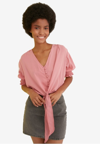 Trendyol pink Button Detail Puff Sleeve Blouse 9D339AA962BF64GS_1