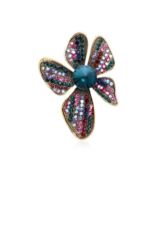 Glamorousky silver Fashion and Elegant Plated Gold Color Flower Brooch with Cubic Zirconia BE49BACDCE5FDDGS_1