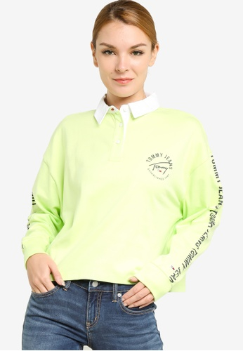 Tommy Hilfiger green Repeat Logo Tape Cropped Rugby Polo Shirt - Tommy Jeans ECCCAAA83DA47BGS_1