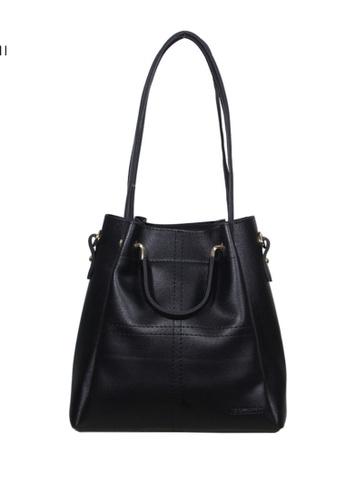 Verchini black Verchini Textured Panelled Top Handle Bag 4B779AC37C27A5GS_1