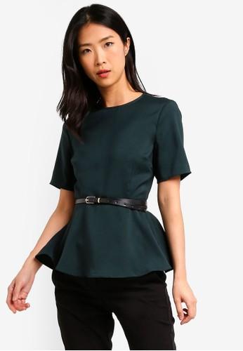 ZALORA BASICS green Basic Workwear Peplum Top With Belt CB246AA9791A57GS_1