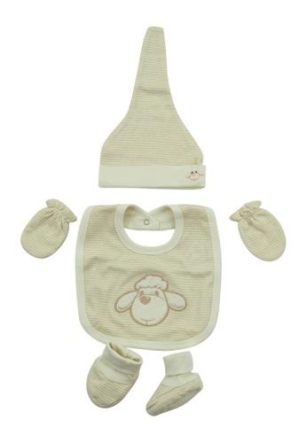 Bebeganic brown 100% Natural Cotton Hat, Mittens, Booties, Bib 1B81CKC86D06A7GS_1