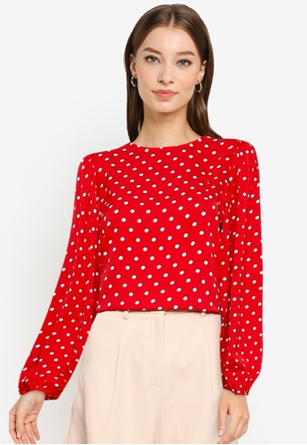 ZALORA WORK red Puff Sleeves Top 64D48AA35CFD4EGS_1