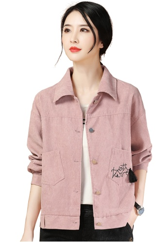 A-IN GIRLS pink Corduroy Vintage Jacket 397C4AAE753682GS_1
