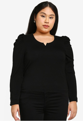 Only CARMAKOMA black Plus Size Dream Long Sleeves Puff Top 431A7AA47273BCGS_1