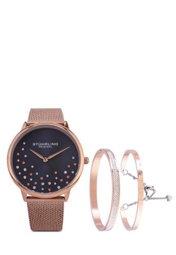 Stuhrling Original 粉紅色 and 藍色 and 金色 3928 Quartz Mesh Bracelet Watch Set 02E78ACCDE0E34GS_1