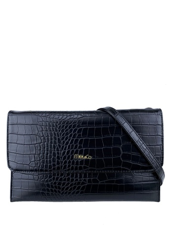 Mel&Co black Faux Leather Croco Embossed Sling Bag 3C375ACAEABFB2GS_1