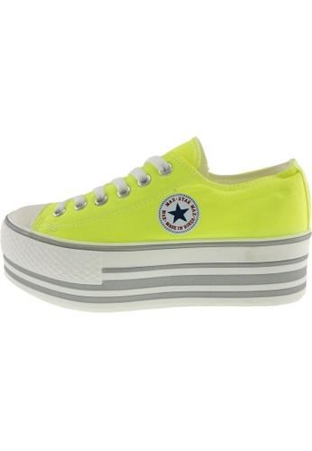 Maxstar 綠色 新款韩国鞋C50-6H-Fluorescent時尚帆布布混合女綠色 US Women Size MA345SH81GTYTW_1