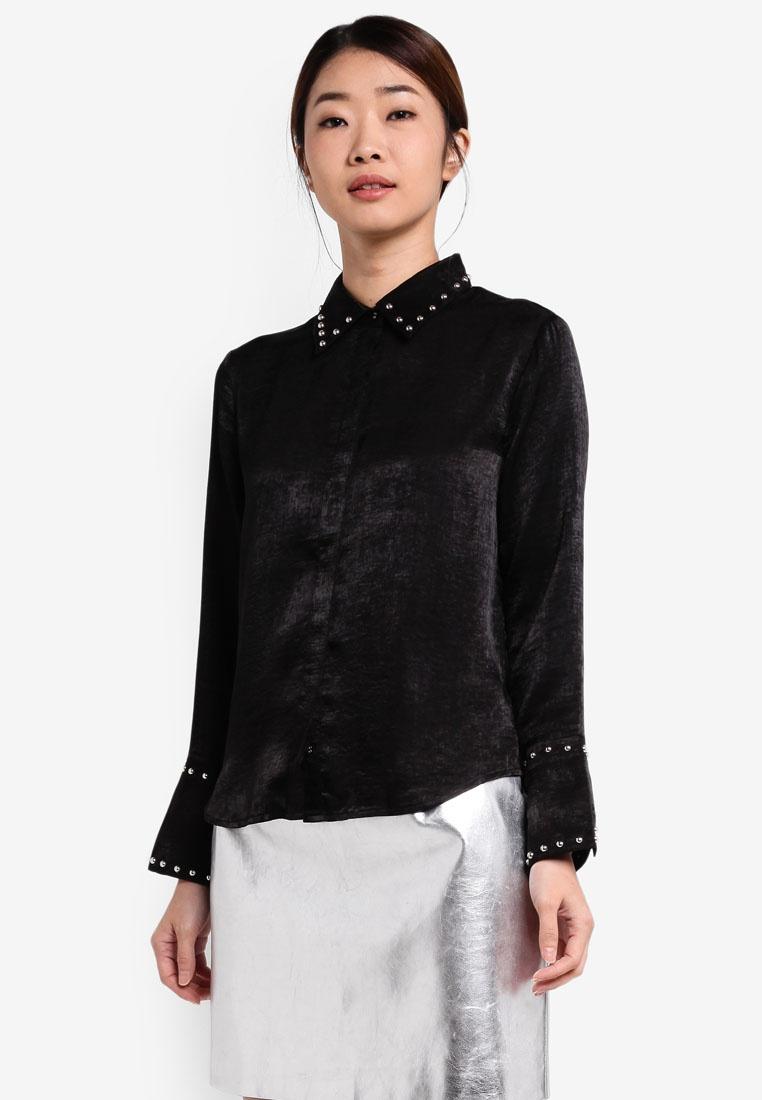 Shirt Studded Black Borrowed Satin Something OCqw4A0X
