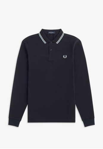 Fred Perry navy M3636 - LS TWIN TIPPED SHIRT - (NAVY) D4AD8AAB4AC204GS_1