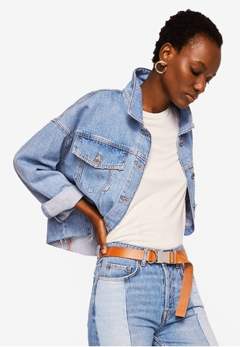 Mango blue Frayed Hem Denim Jacket A5D15AA46F5794GS_1
