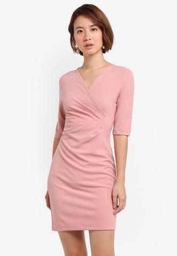 ZALORA pink Draped Sheath Dress 33461AAB37AAC3GS_1