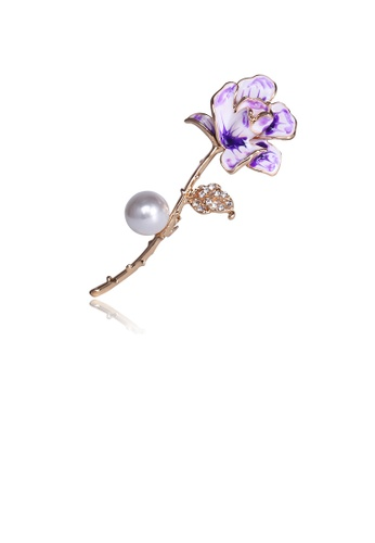 Glamorousky white Fashion and Simple Plated Gold Purple Flower Imitation Pearl Brooch with Cubic Zirconia D3969AC41E50D8GS_1