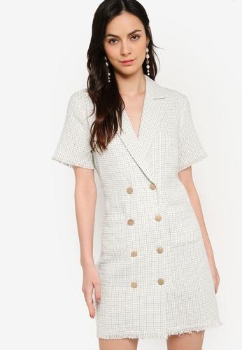 ZALORA WORK multi Double Breasted Tweed Dress 5072AAAEDDD47FGS_1