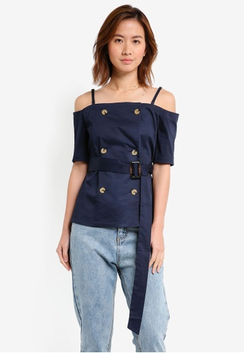 ZALORA navy Double Breasted Structure Top 29065AA1B85EAFGS_1