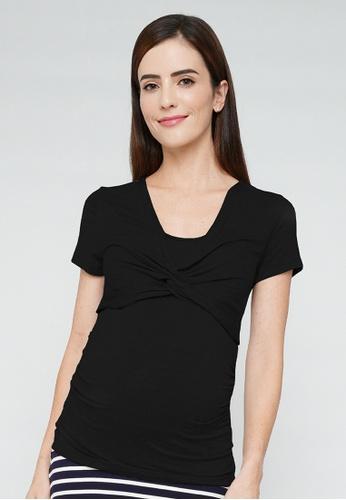 9months Maternity 黑色 Black Twist Detail Nursing Top 6AC24AA72C1D66GS_1