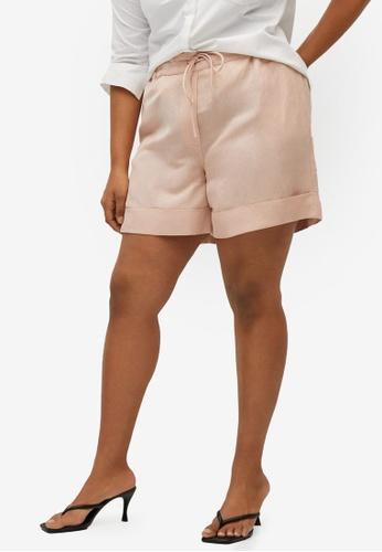 Violeta by MANGO pink Plus Size Linen-Blend High-Waist Shorts 639D5AA710BE07GS_1