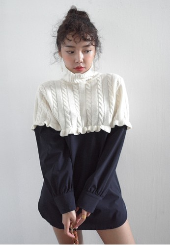 Cable Knit Panel Wool Sweater, 服飾,esprit 京站 上衣