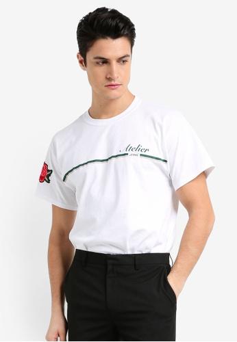Topman white White 'Atelier' Printed T-Shirt 73220AAEA4B60AGS_1