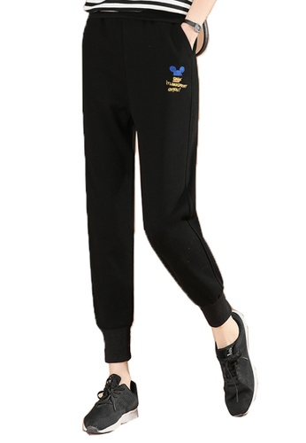 A-IN GIRLS black Elastic Waist Casual Trousers 84C5EAA0B0B86EGS_1