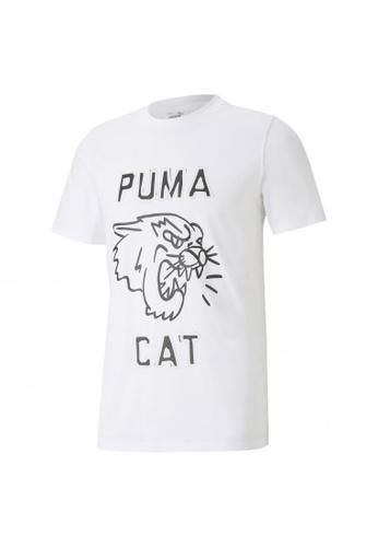 Puma white Franchise Graphic Men's Basketball Tee 85EA1AA5D3E900GS_1