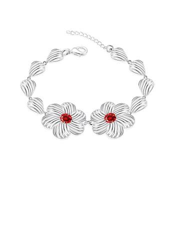 Glamorousky red Fashion Elegant Hollow Flower Red Cubic Zircon Bracelet C6808ACA569B99GS_1