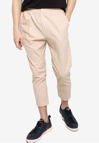 ZALORA BASICS beige Elastic Waist Cropped Trousers A395AAA103A194GS_1