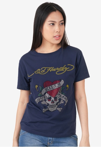 "Ed Hardy navy Ed Hardy Ladies ""Love Kill Slowly"" Full Rhinestone Round Neck Tee 6DABEAAB86AEBAGS_1"