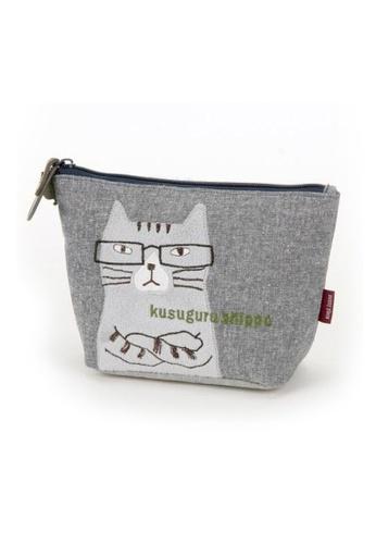 LULUGIFT grey Lulugift Nekozawa Kusuguru Shippo Make-up Bag Grey LU989AC0RFSKMY_1