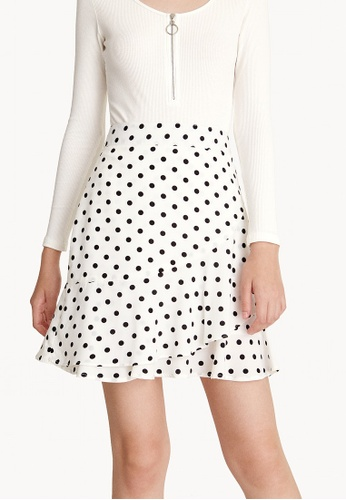 Pomelo white Ruffles Asymmetrical Mini Skirt E5876AADE63D6EGS_1